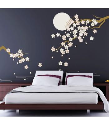 Sienas dekors Ziedošie ķirši mēnessgaismā